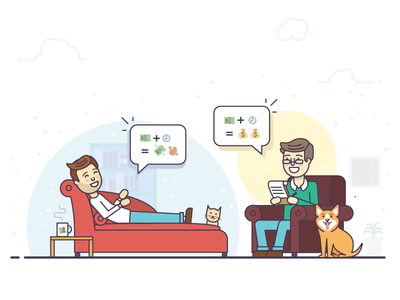 Therapist - Illustration for client art couch icons analysis psycho therapist emoji flat illustration character
