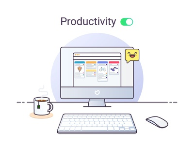 Productivity - illustration for Ora.pm productive mac mouse keyboard tea coffee kanban flat illustration
