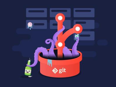 Git monster illustration tentacles flat management task ora kanban monster illustration beer character git octo