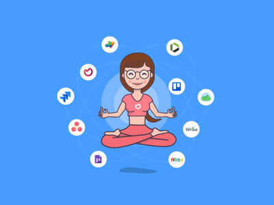Zen, Yoga, Project Management task management project management best basecamp wrike asana trello jira yoga floating girl illustration