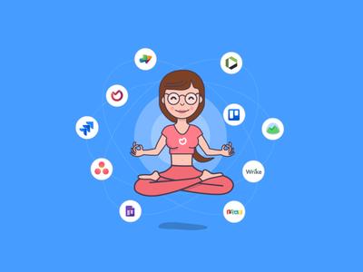 Zen, Yoga, Project Management task management project management best basecamp wrike asana trello jira yoga floating girl illustration