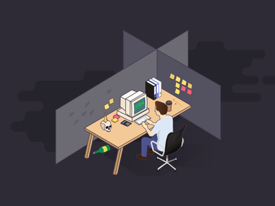 Jira Alternatives alternative trello asana management task project management corporate cubicle isometric computer old candle skull dead jira illustration