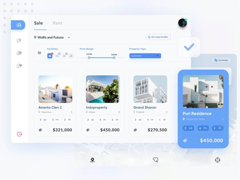 Property Listings - Web App - realestate mode home rent location facilities property type price range home sale rent sale listing detail web app product maps list property ui sketch clean