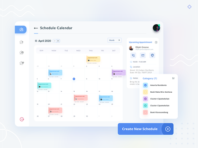 Schedule Calendar address house home blue clean website business card tags location apartment real estate ui kit time business web app calendar schedule appointment mobile app
