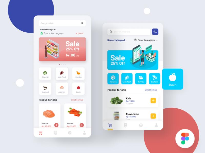 Marketplace mobile app - Figma freebies - food ui mobile app search transaction buy illustration figmadesign sale market free marketplace figma freebies