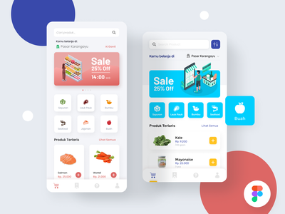 Marketplace mobile app - Figma freebies - food ui mobile app search transaction buy illustration figmadesign sale market free marketplace figma freebies