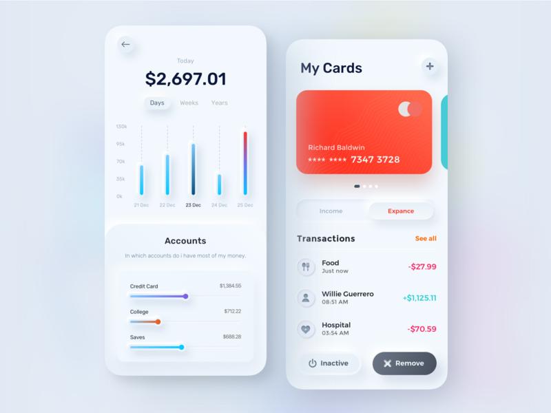 Finance mobile app -  Skeuomorphism UI Design account transaction tax income expense ux ios sketch skeuomorphism 3d clean credit card card money business finance mobile app