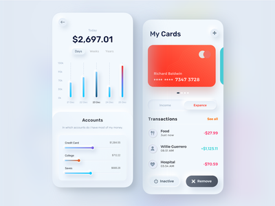 Finance mobile app -  Skeuomorphism UI Design account transaction tax income expense ux ios sketch skeuomorphism 3d clean credit card card money business finance mobile app