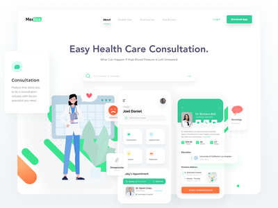 Healthy app landing page download website consultant mobile ui sketch illustration mobile app landing page doctor healthy