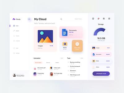 Dashboard - Cloud File Manager dashboard ui kit ux illustration cloud app application website cloud business clean sketch