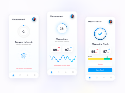 Oxymeter mobile app - Measurement screen health oxymeter oxymeter ui clean sketch mobile app
