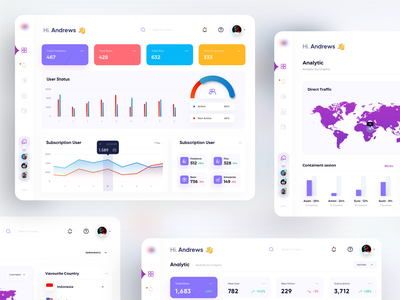 Dashboard - User Analytics - world maps session total status active user traffic chart graphic country subscribtion indonesiadesigner user design clean sketch analitycs dashboard