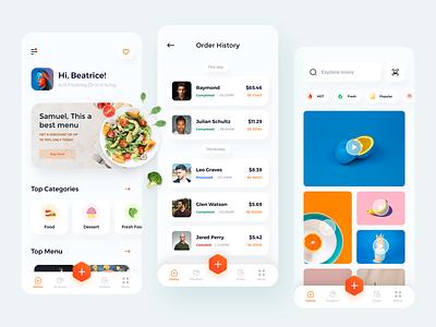 Food mobile app ui clean social media marketplace food sketch