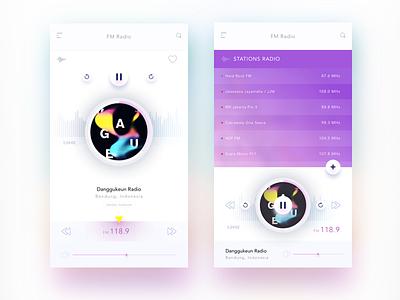 Radio FM app concept  mobile app pause play music volume stations radio frequency fm radio