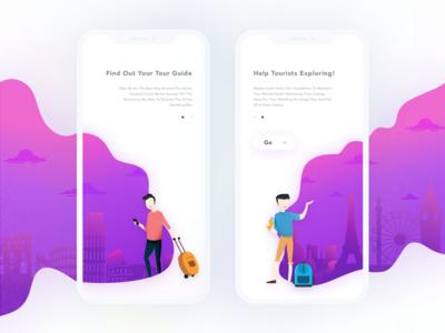 """Tutour"" Walkthrough login people illustration purple mobile travelling travel tour guide iphone x tourism walkthrough"