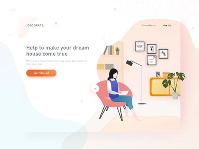 """Decoration"" Landing Page read vector illustration clean website landing page furniture decoration"