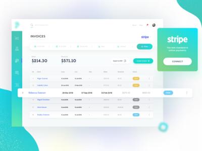 Invoice List money ios green application web app stripe invoice finance ui mobile app