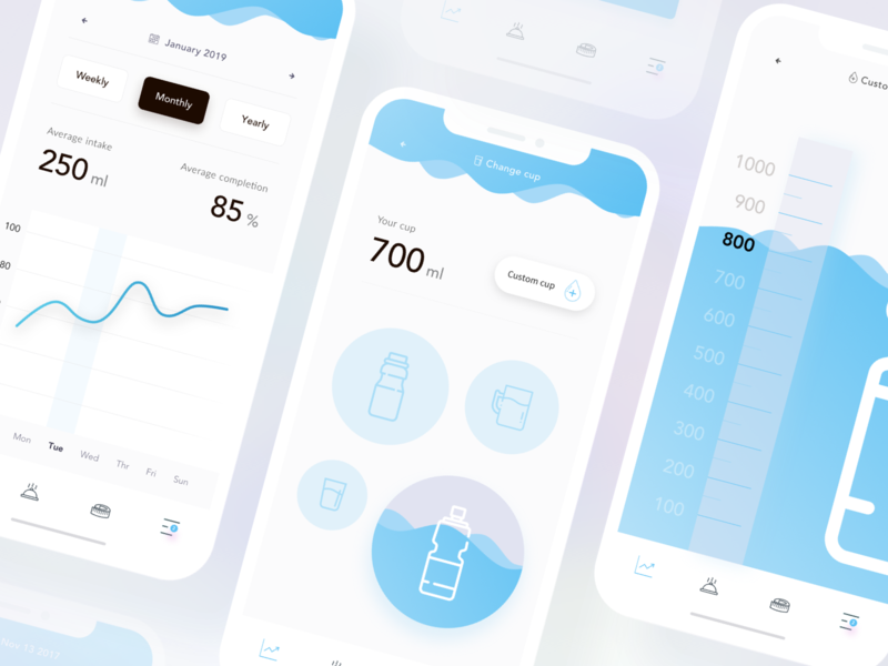 Daily Water Reminder - part 2 - marvel invision sketch ui health app healthy minimalist daily day calories drinks monitoring health reminder water clean mobile app
