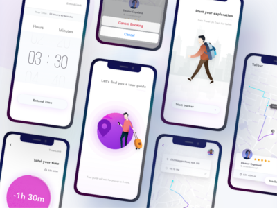 """TuTour"" Tour guide finder freelancer bandung indonesian 2019 trend vector clean product design tracking app tracker timer finder guide find tourism tour illustration ios ui kit sketch mobile app"