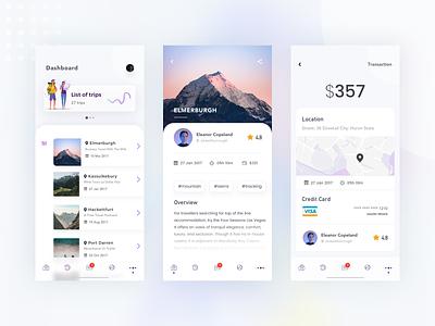Dashboard account screens travel app travel ui ios illustration app ux ui kit sketch clean mobile app