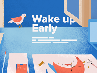 Wake Up Infographic early bird pink vectors illustraion fun blue infographics colorful ui chicken bird morning wakeup infographic design vector texture illustration art illustration