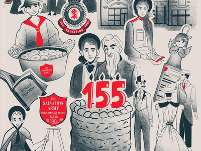 Salvation Army Infographic people army timeline blackandwhite salvation army vintage old infographic design vector texture illustration art illustration