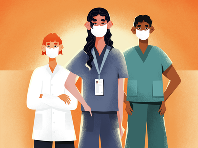 New Era for Healthcare Workers Illustration sunrise sunset doctors practitioner mask illustration art hospital nurse doctor health healthcare covid19 covid pandemic colorful vector illustration