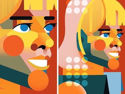 Geometrical Minimalistic Portrait character design geometrical colorful girl women portrait texture vector illustration