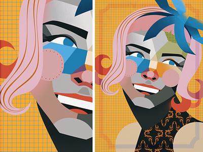 Geometrical Minimalistic Portrait texture portrait women girl geometrical character design design pink illustration art colorful vector illustration
