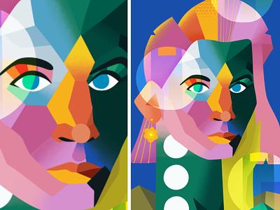 Geometrical Minimalistic Portrait character desing geometrical girl women portrait pink texture illustration art vector colorful illustration