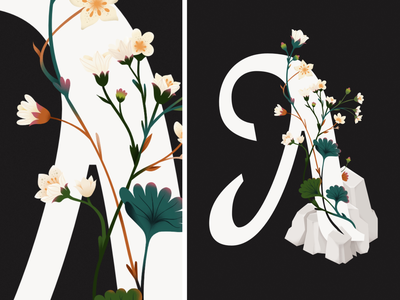 Typography Floral Poster Pulsatilla patens Illustration gentle pink desing shapes luxure poster typegraphy letter floral plants flower flower illustration leaves minimal colorful vector texture illustration art illustration