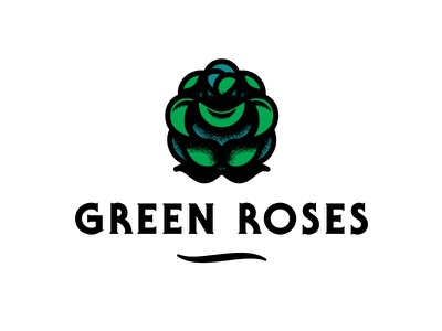 Green Roses line rose serif gothic illustration