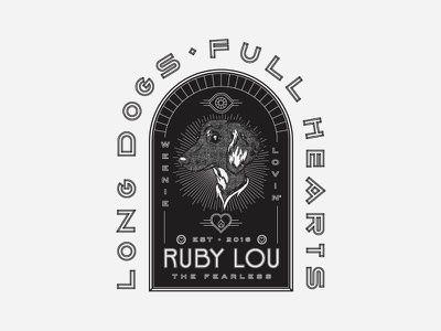 Ruby Lou 🐶 crest badge full hearts long dogs weenie dog puppy