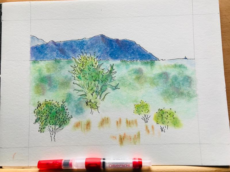 """Tillamook Head"" (2019) my work northcoast pnw tillamook head solvent colored pencil pen and ink"