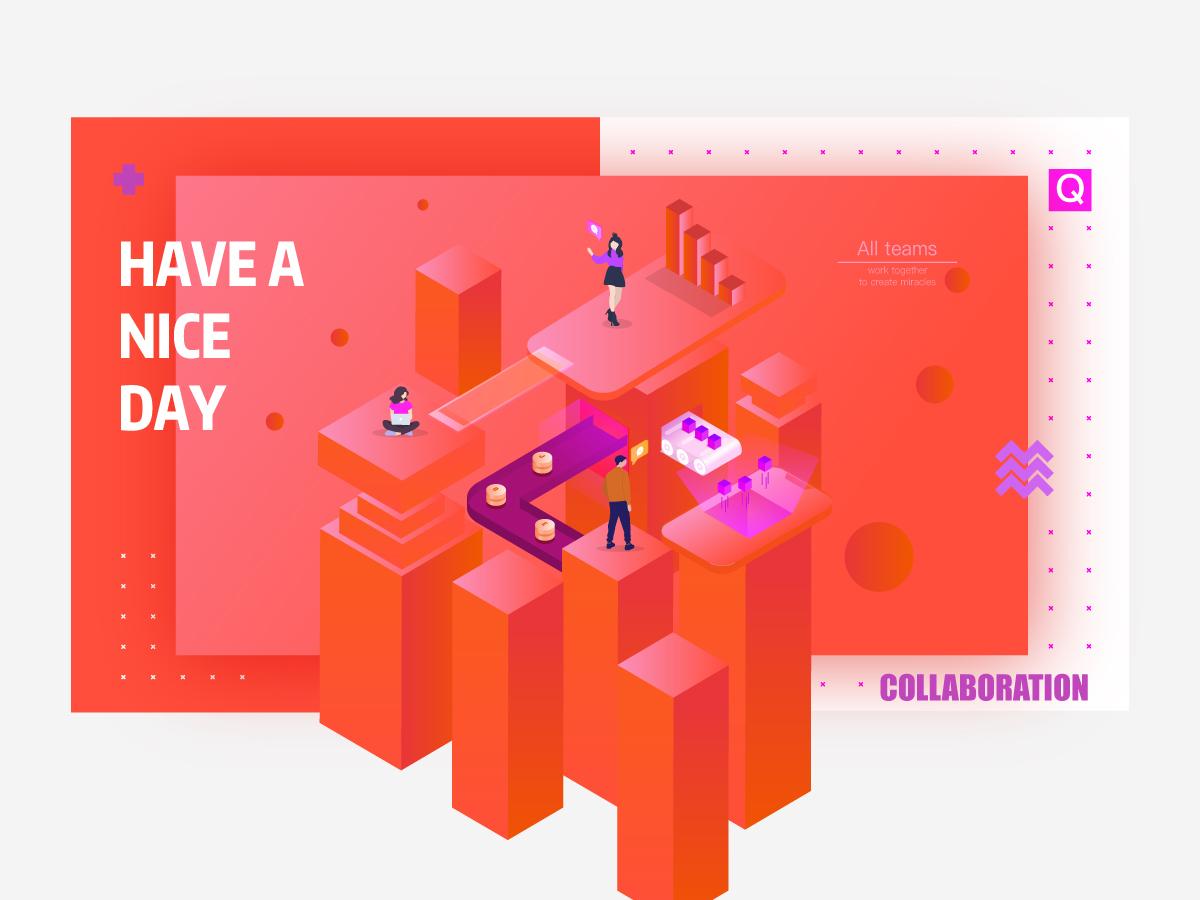Collaboration 2.5d illustration