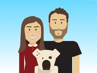 Couple and a dog - illustration