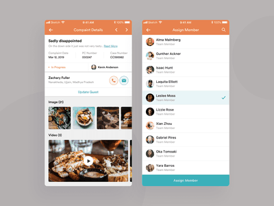 Complaint Details & Assign icon uxdesign ui design user assign details complaints management restaurant experience mobile interface app clean design ux ui
