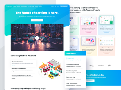 Pavemint - Landing Page & Type System business product parking design system typogaphy web website experience interface app clean design ux ui