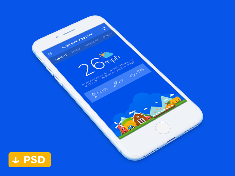 Freebie - Weather app tabs simple blue minimalist psd illustration wind mobile weather freebie app