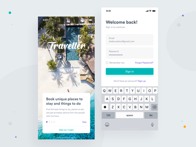 Onboarding & Login booking travel typography experience onboarding login interface mobile app clean design ux ui