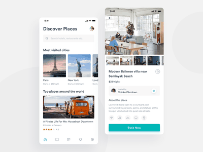 Discover & Detail places amenities hotel search discover ui ux design clean app mobile interface experience typography travel booking