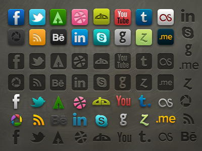 Socialis 2.1 - Icon pack with PSD social icon pack victor ingman facebook twitter forrst youtube tumblr skype picasa psd free social icons