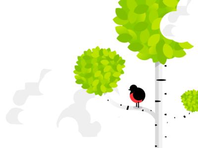 Birch & Bird uppsala sunlabs light leaves leaf simplistic cloud birch tree bird illustration