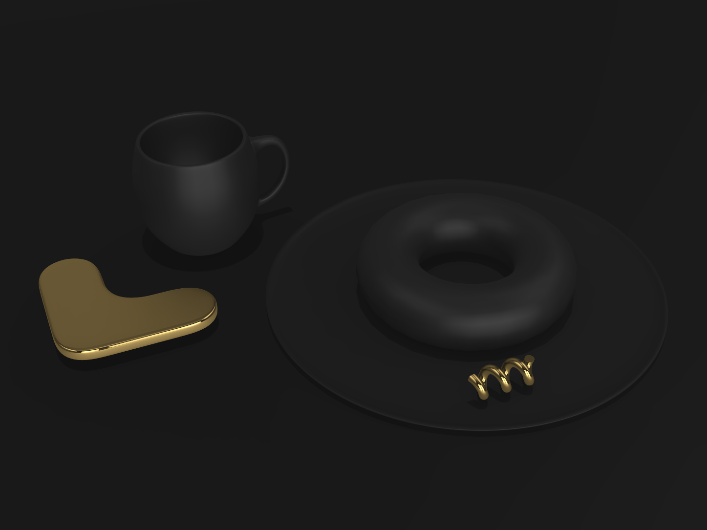 Obsidian Gold illustration dark normie 2019 matte gold donut coffee 3d