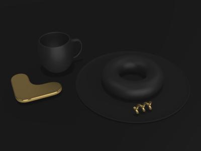 Obsidian Gold illustration dark normie 2019 matte gold donut coffee 3d