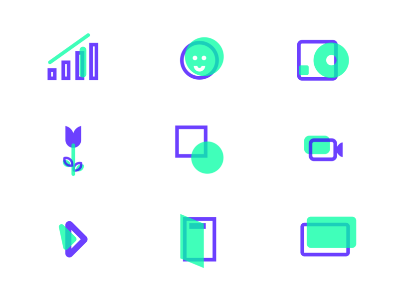 Minty Icons video face flower bar chart music figmaafrica vector normie icons figma free