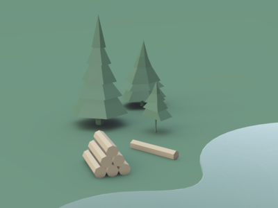 Wood Wood Wood vectary green water log wood pine design 3d illustration 2019 normie