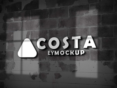 Free Wall 3d Logo Mockup logo download mockup psd