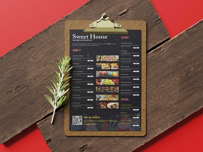 Sweet House Restaurant Poster Tabloid Menu Design menu premium psd illustration design premium download psd