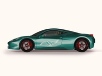 Free Green Ferrari Car Side Mockup